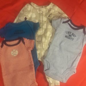Lot of 4 Boys Carter's Newborn Onesies